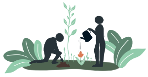 Illustration of two silhouettes of people, one watering a flower and the other kneeling in the act of digging the topsoil