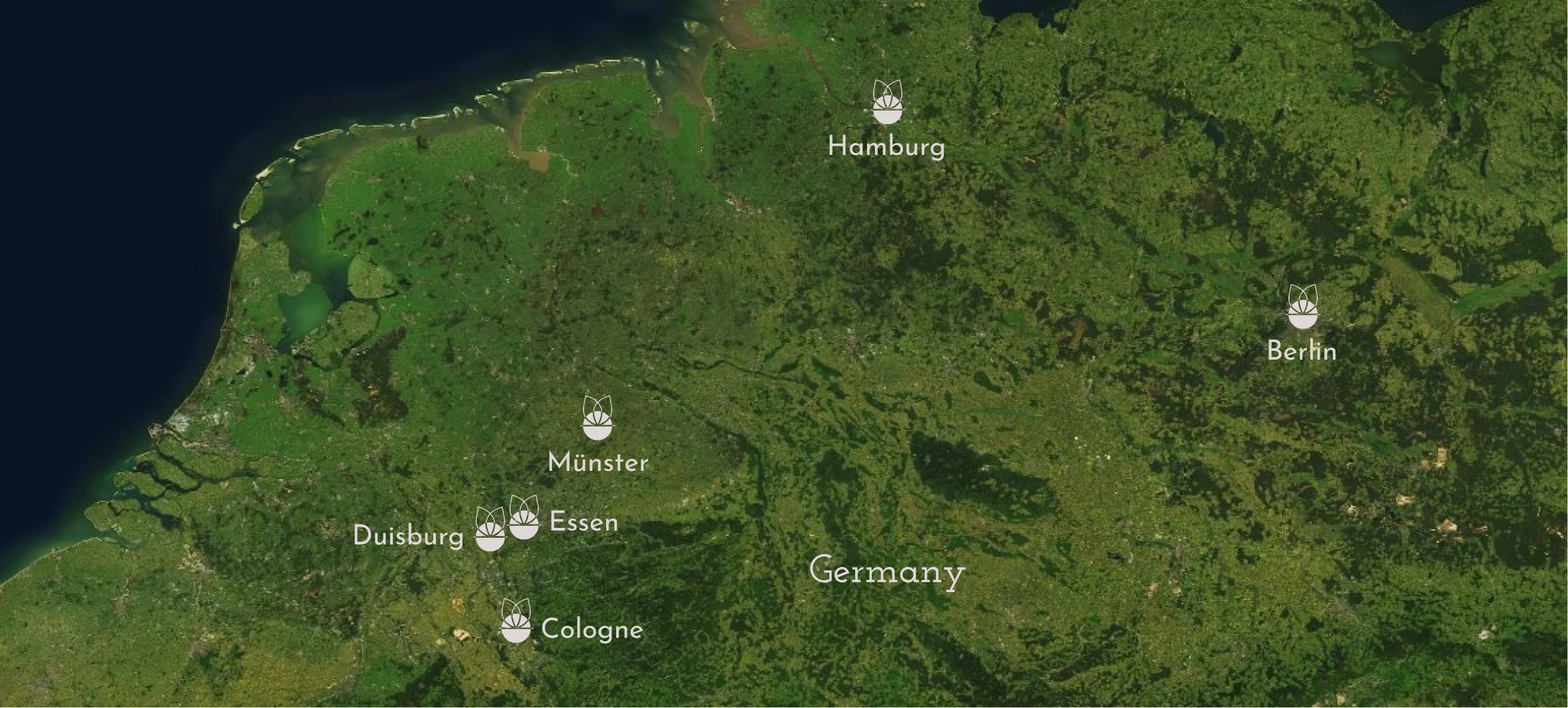 Satellite photo of Germany, without streets and other indications. There is the Grome Logo placed on Hamburg, Berlin, Munster, Essen, Duisburg and Cologne, the cities where Grome is present