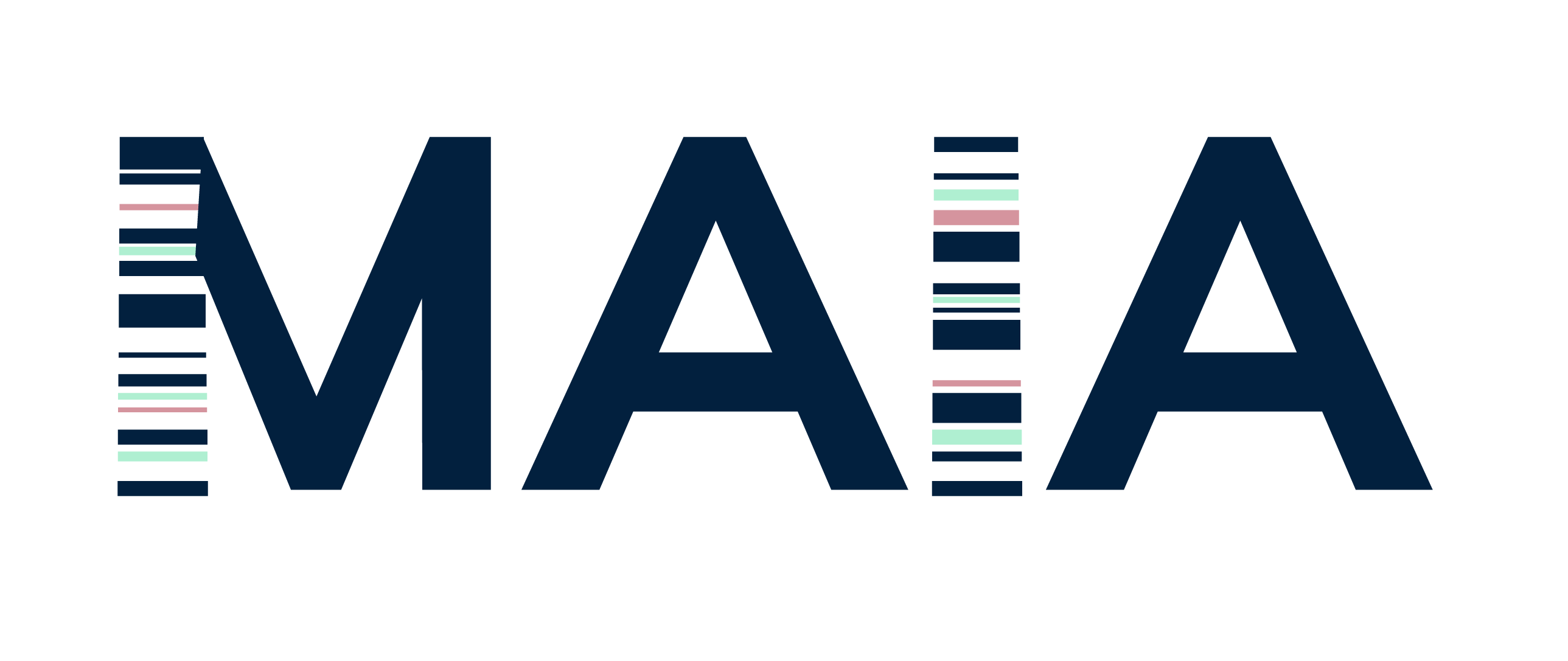 Maia's logo made up of capitalised dark blue text and lines of white, pink and light green on the I and M.