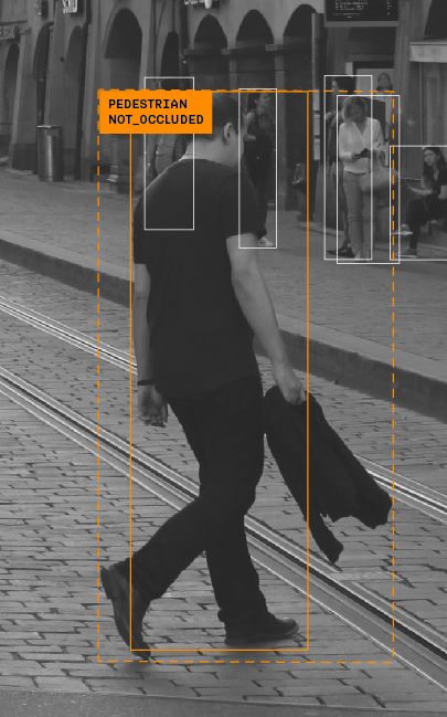 Sample of annotation correction of non-occluded pedestrian man crossing a street
