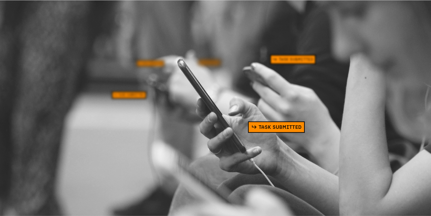 Image of multiple mobile device users, simultaneously submitting tasks