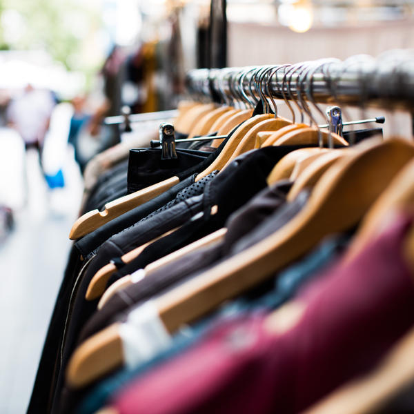 Close up view of clothes on a shop rack