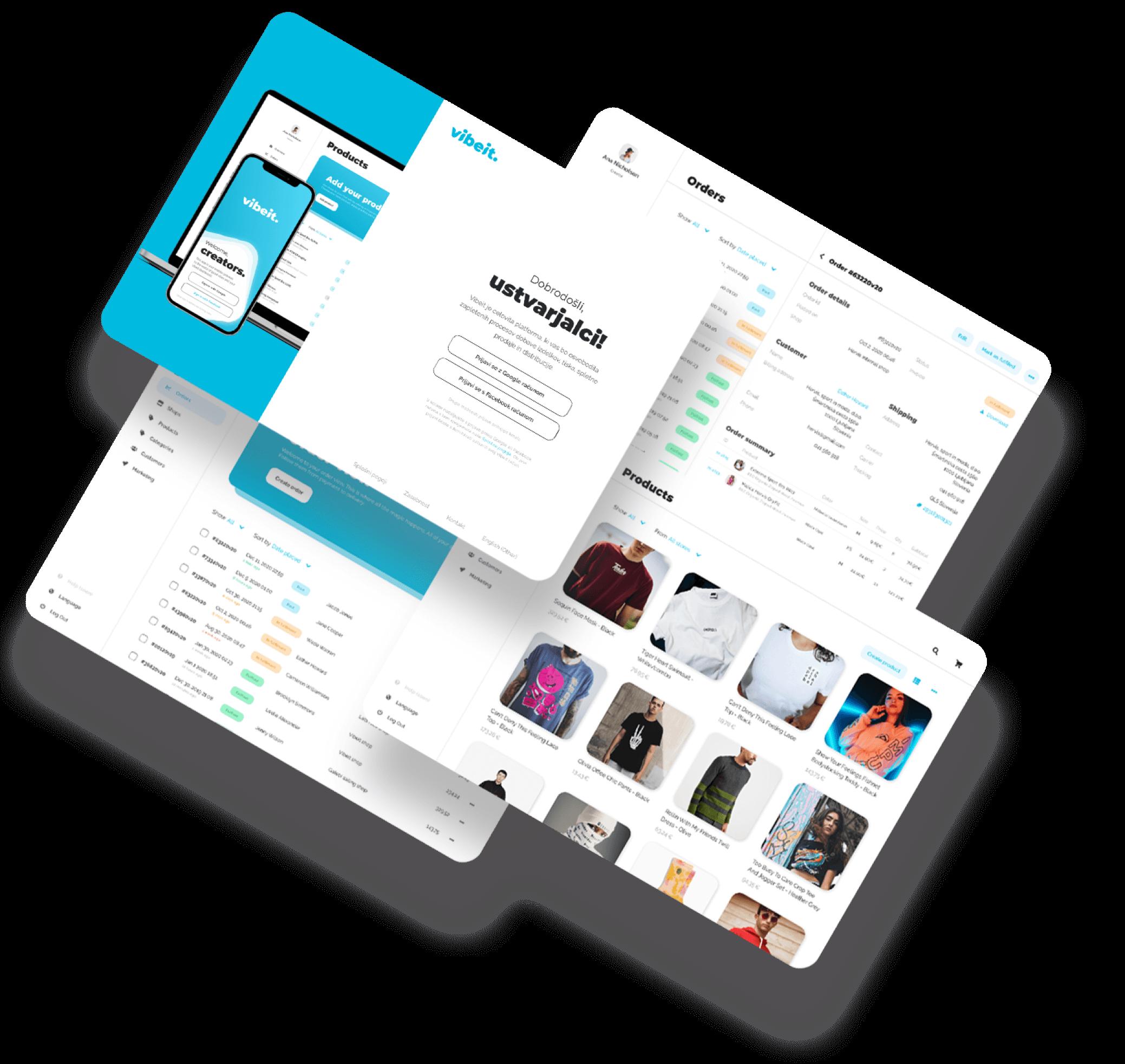 Vibeit banner image, showing 4 overlapping screens from Vibeit merchandising platform, image