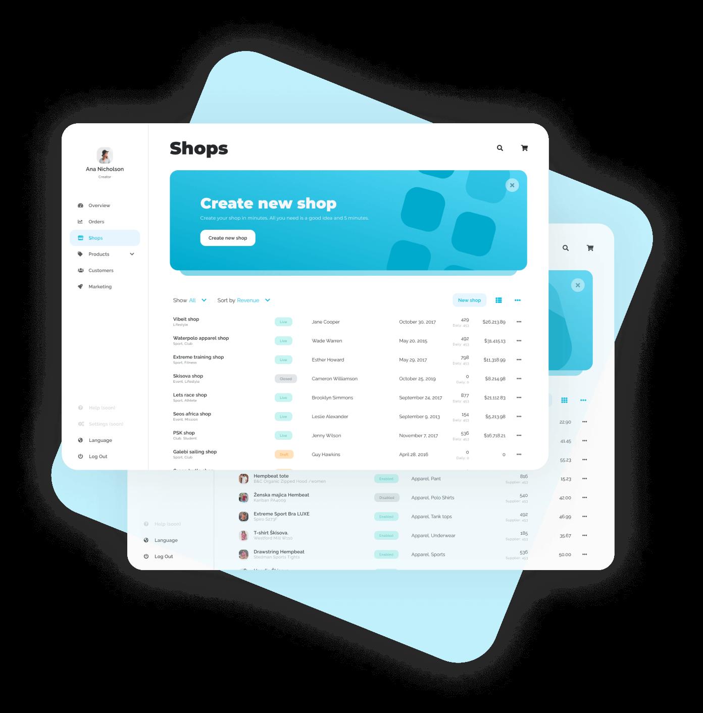 Pogleda na nadzorno ploščo Vibeit platforme, preko katere si lahko odprete svojo spletno trgovino. slika