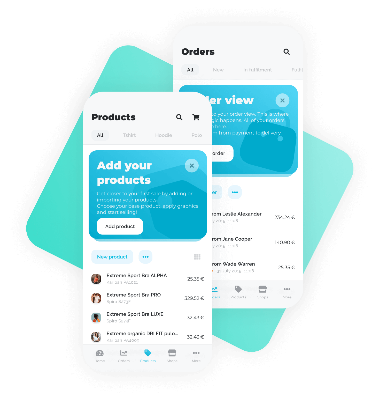Vibeit platforma deluje na mobilnih napravah, kjer lahko influencerji spremljajo svojo prodajo in urejajo izdelke. slika