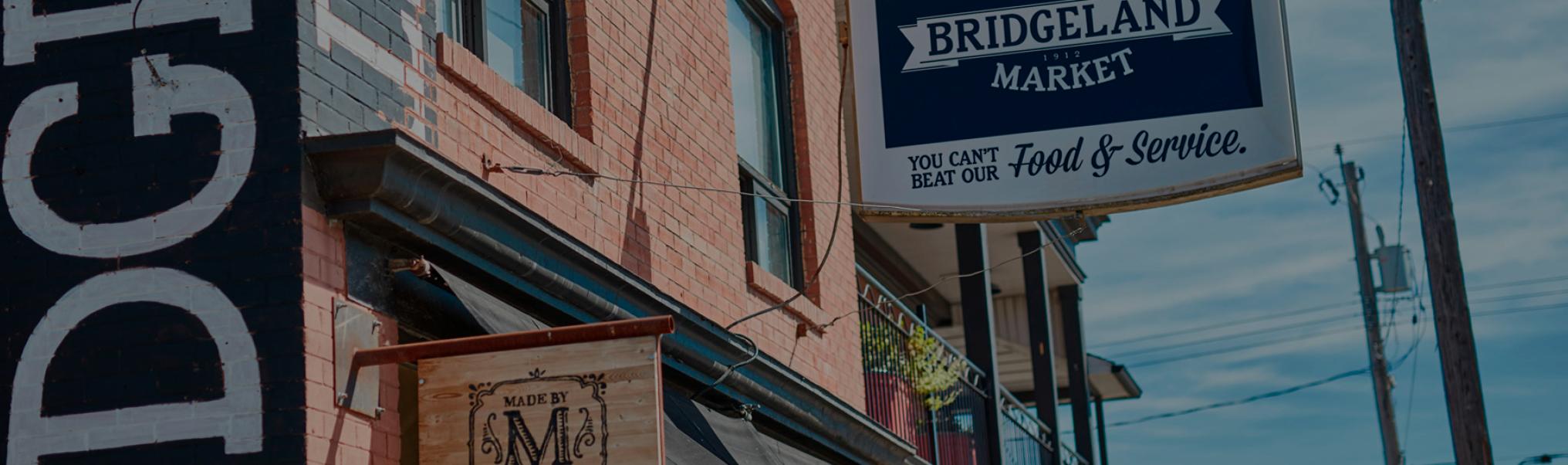 A photo of the Bridgeland market signage