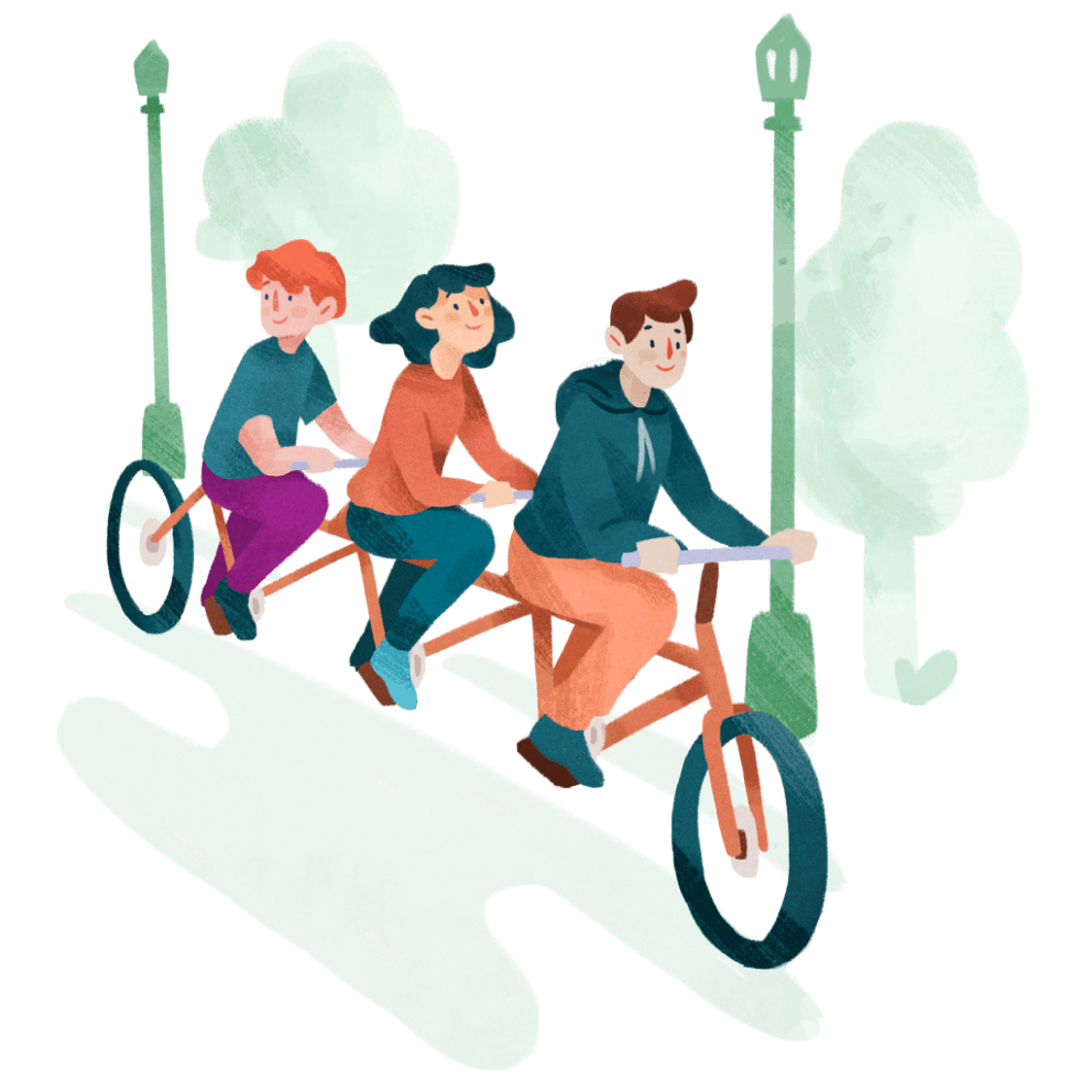 Illustration of a young people riding a very long bicycle
