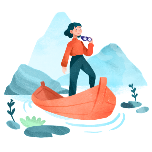 Illustration of a girl standing on a dinghy