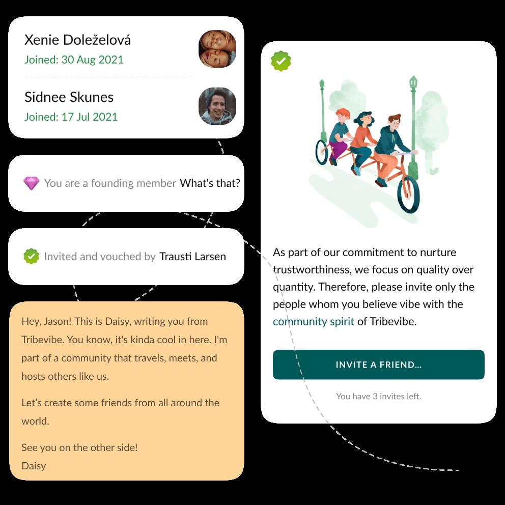 Artistic screenshot of Tribevibe's mobile app
