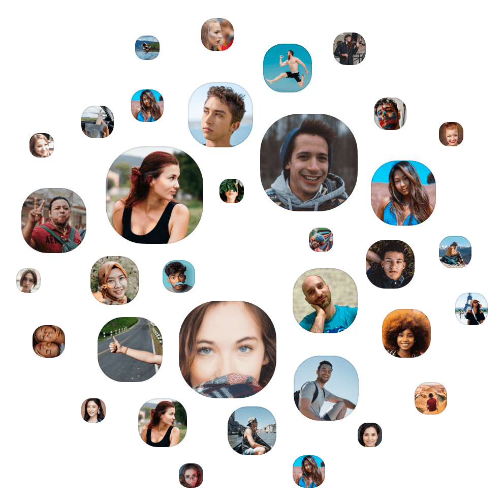 Screenshot of people arranged in a circle.