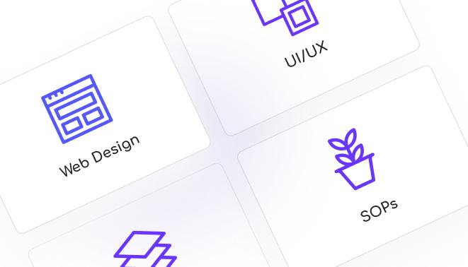 Web Design, SOPs, UI/UX icons on a home landing mockup