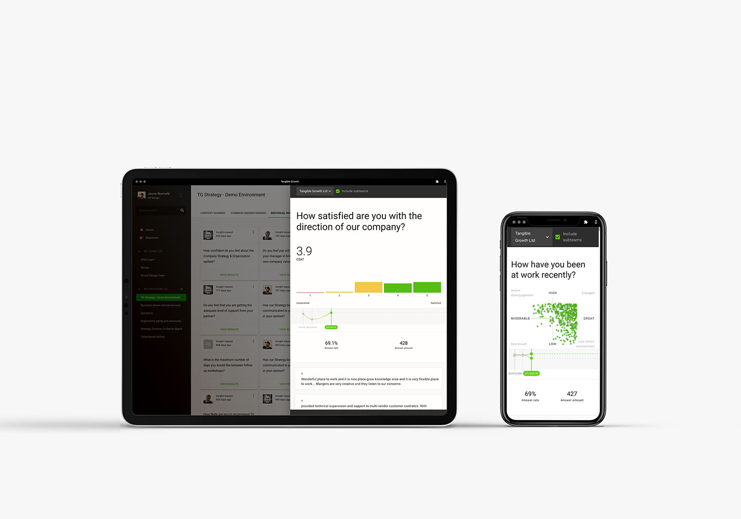 A tablet and mobile phone showing Individual Insights feature