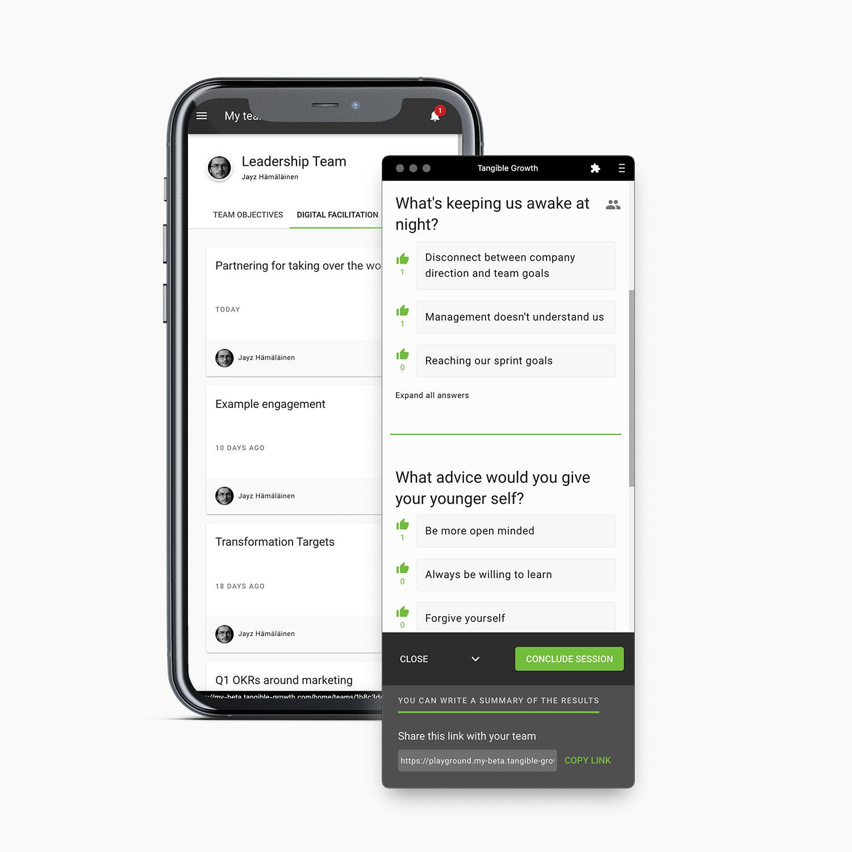 A mobile phone and a screenshot of Digital Facilitation feature