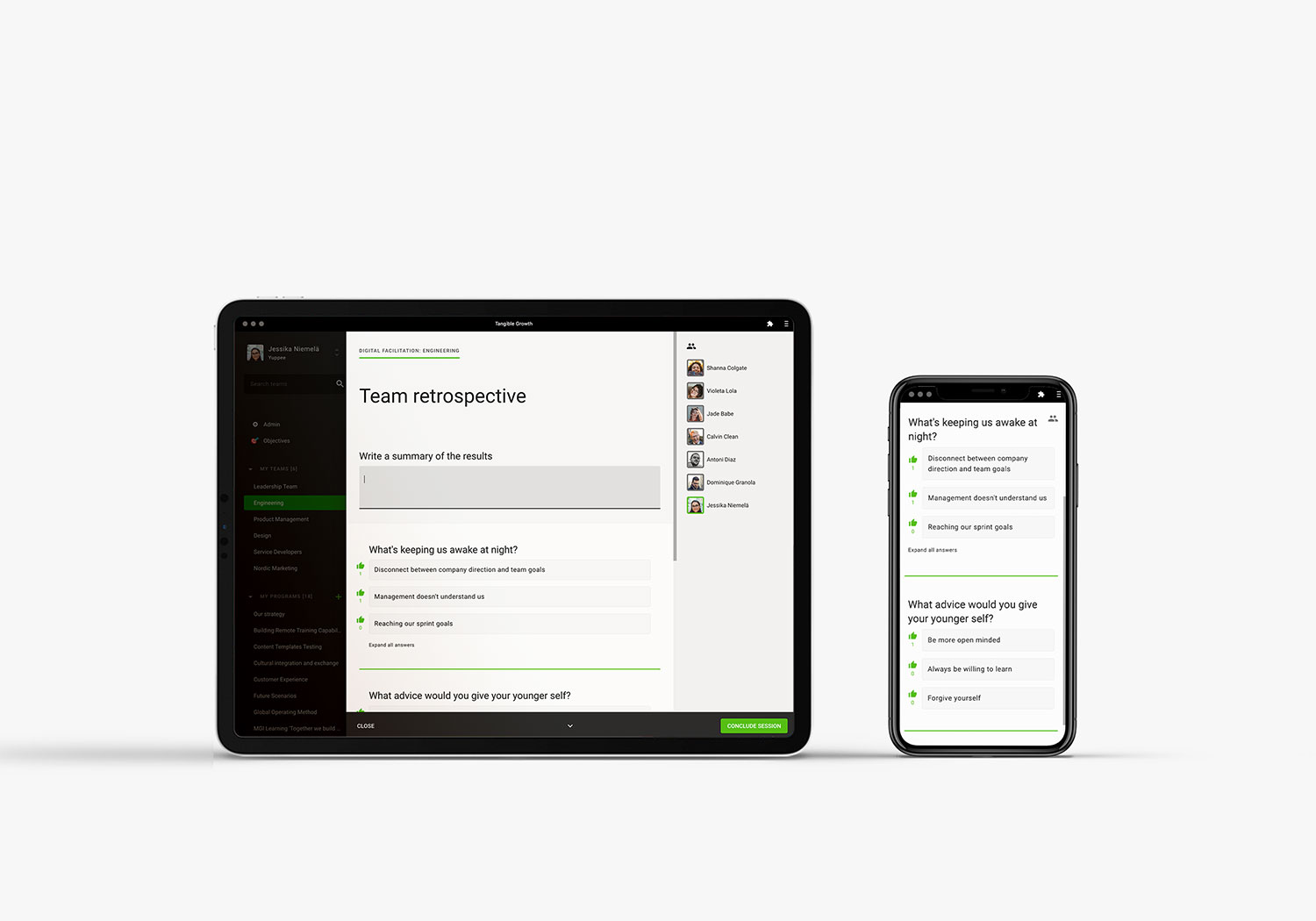 A tablet and mobile phone running Digital Facilitation feature