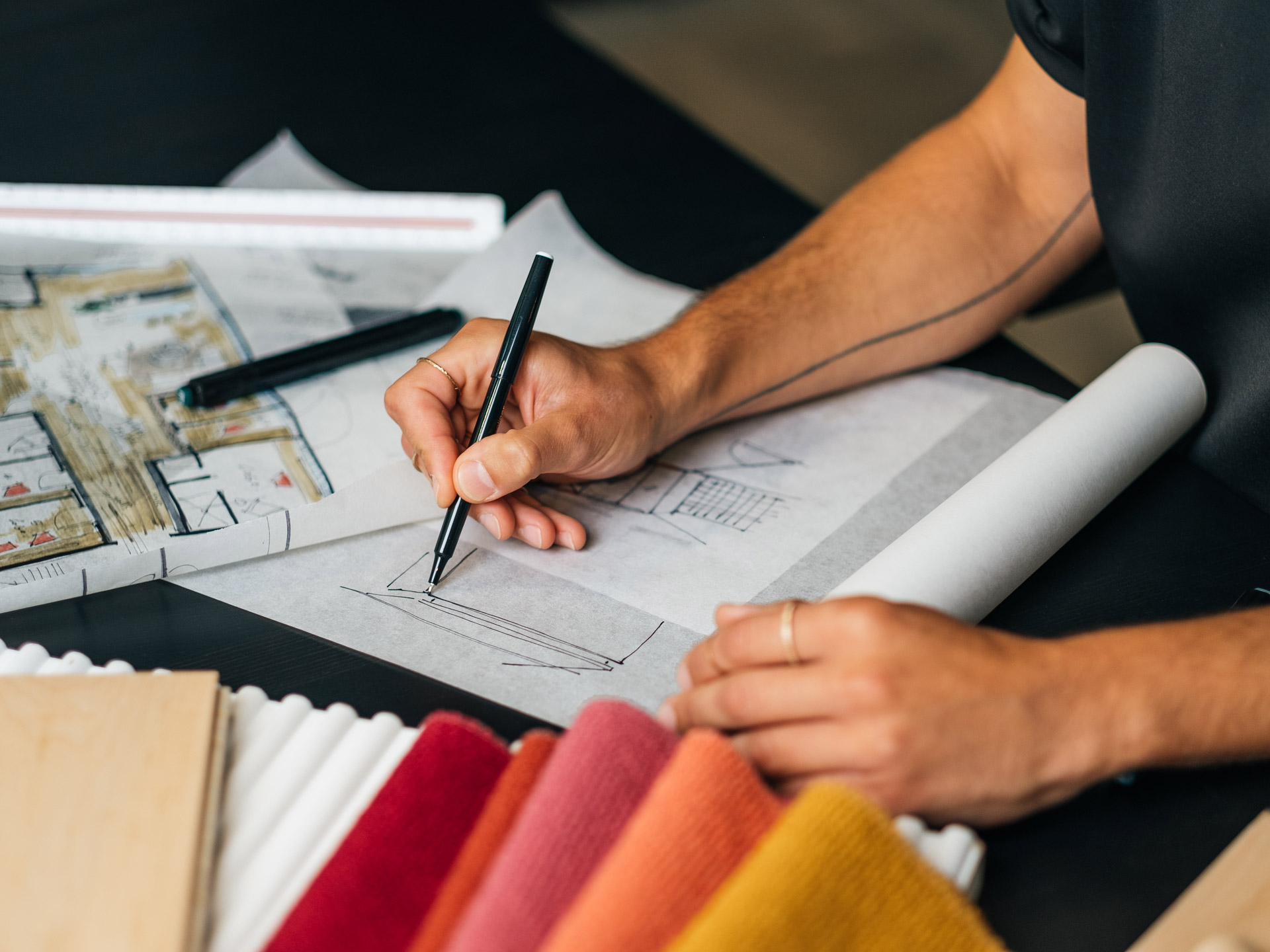 Esquisses par un designer intérieur