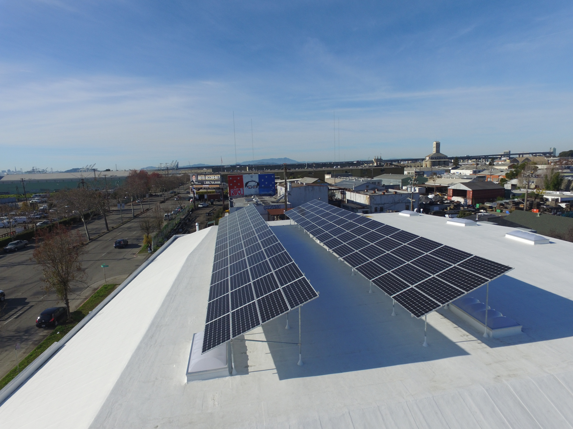 View of commercial solar installation at the Subterranean wine storage facility in Oakland, California