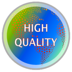 Graphic that says high quality and shows a globe with bright blue and green colors