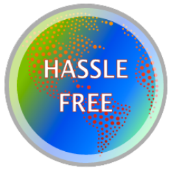 Graphic that says hassle free and shows a globe with bright blue and green colors