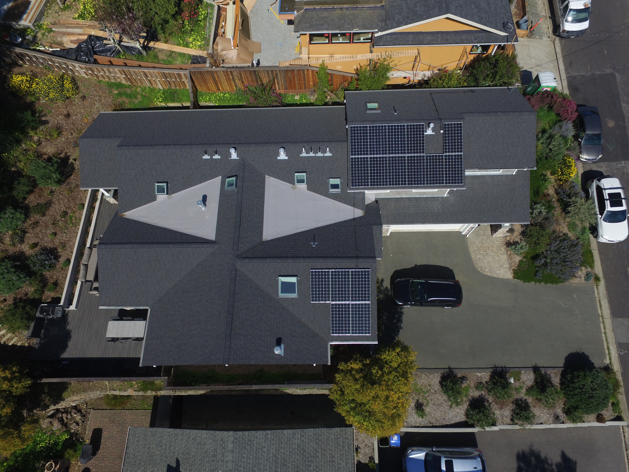 Aerial footage of Mill Valley home with multiple solar arrays