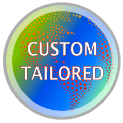 Graphic that says custom tailored and shows a globe with bright blue and green colors