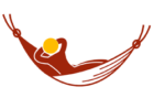 Red and yellow graphic of a person lying in a hammock
