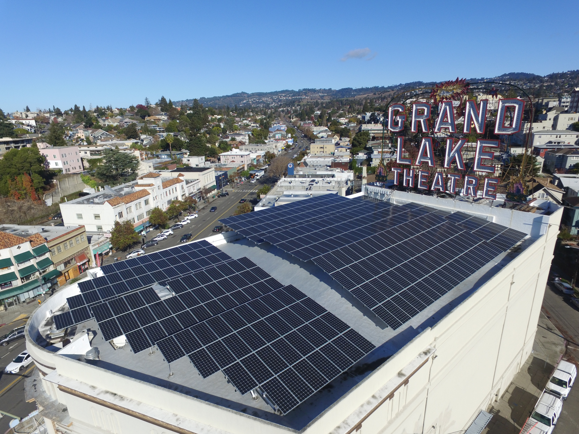View of commercial solar installation at the iconic Grand Lake Theater in Oakland, California