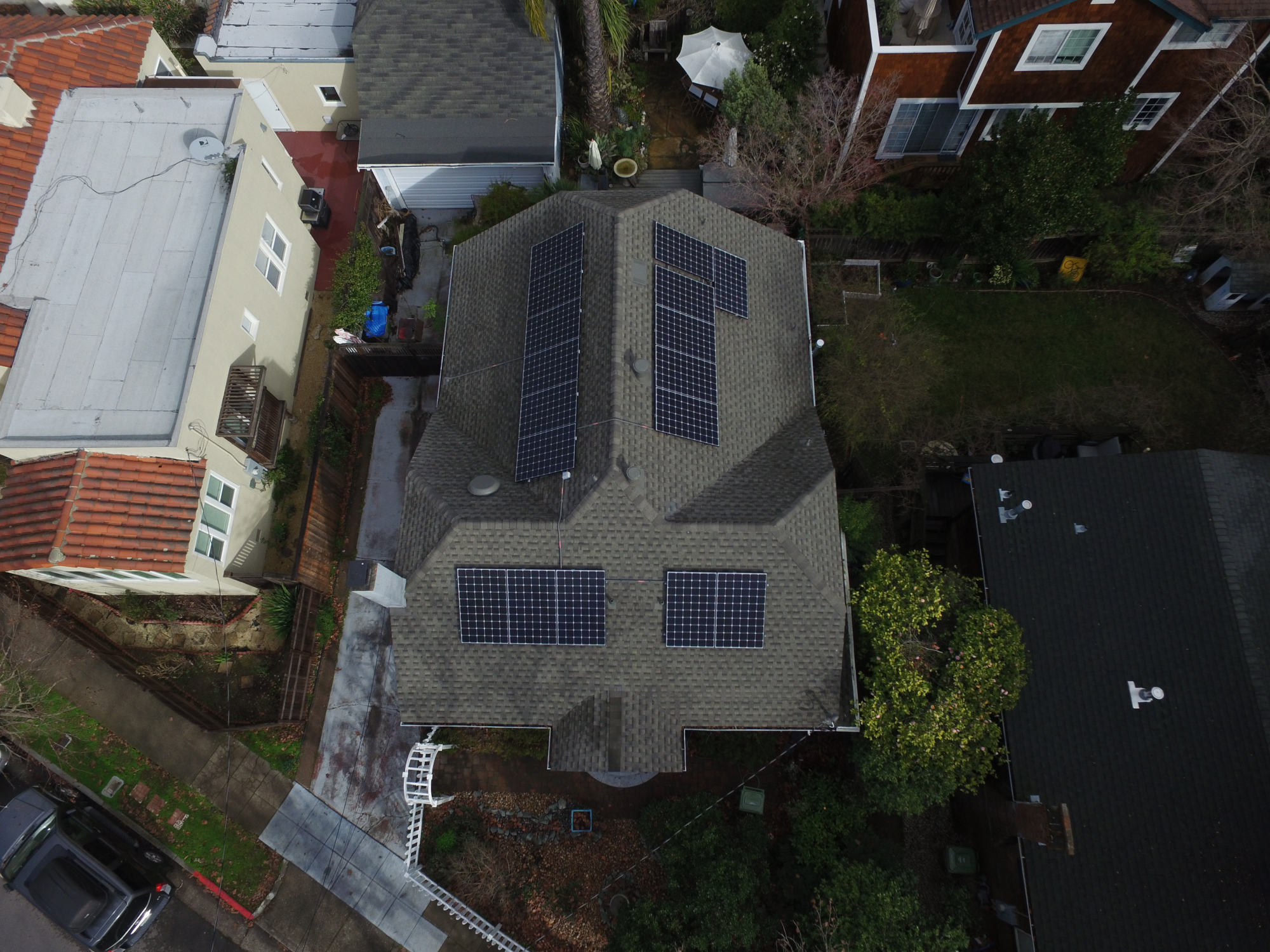Aerial view of rooftop solar on a home in San Rafael, California