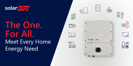 """A graphic the says """"The One, for all, meet every home energy need,"""" showcasing the SolarEdge Energy Hub Inverter."""