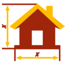 Red and yellow graphic of a house with rulers showing measurements along vertical and horizontal axis