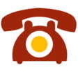 Red and yellow graphic of a telephone