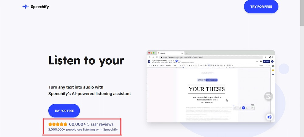 speechify landing page copywriting