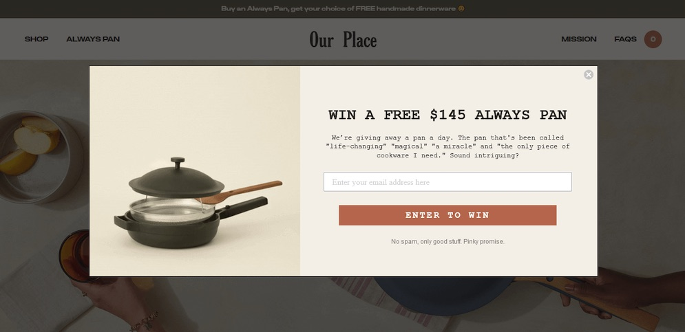 Our place landing page copywriting