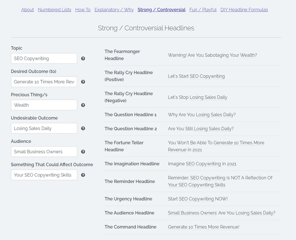 Sumo Topic Idea Generator Input and Output Example