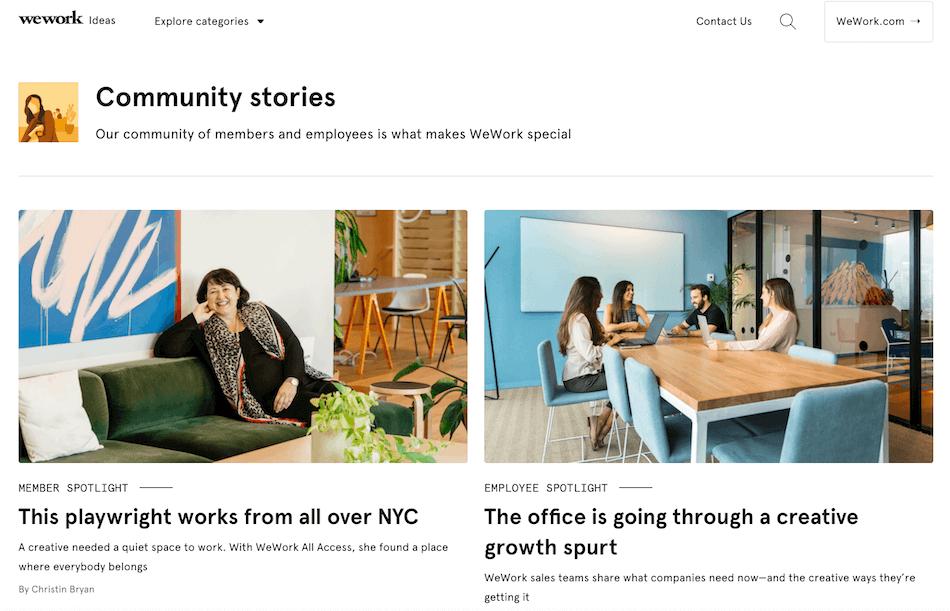 WeWork community stories