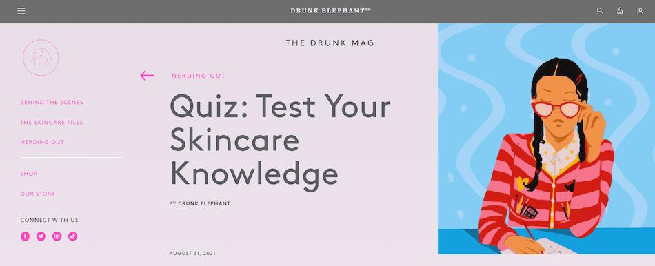 Drunk Elephant skincare quiz