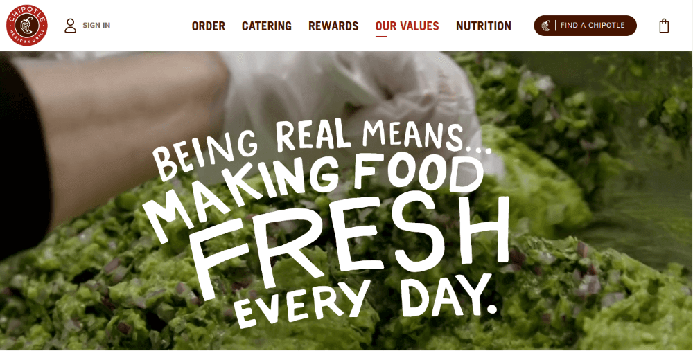 Chipotle About Us page
