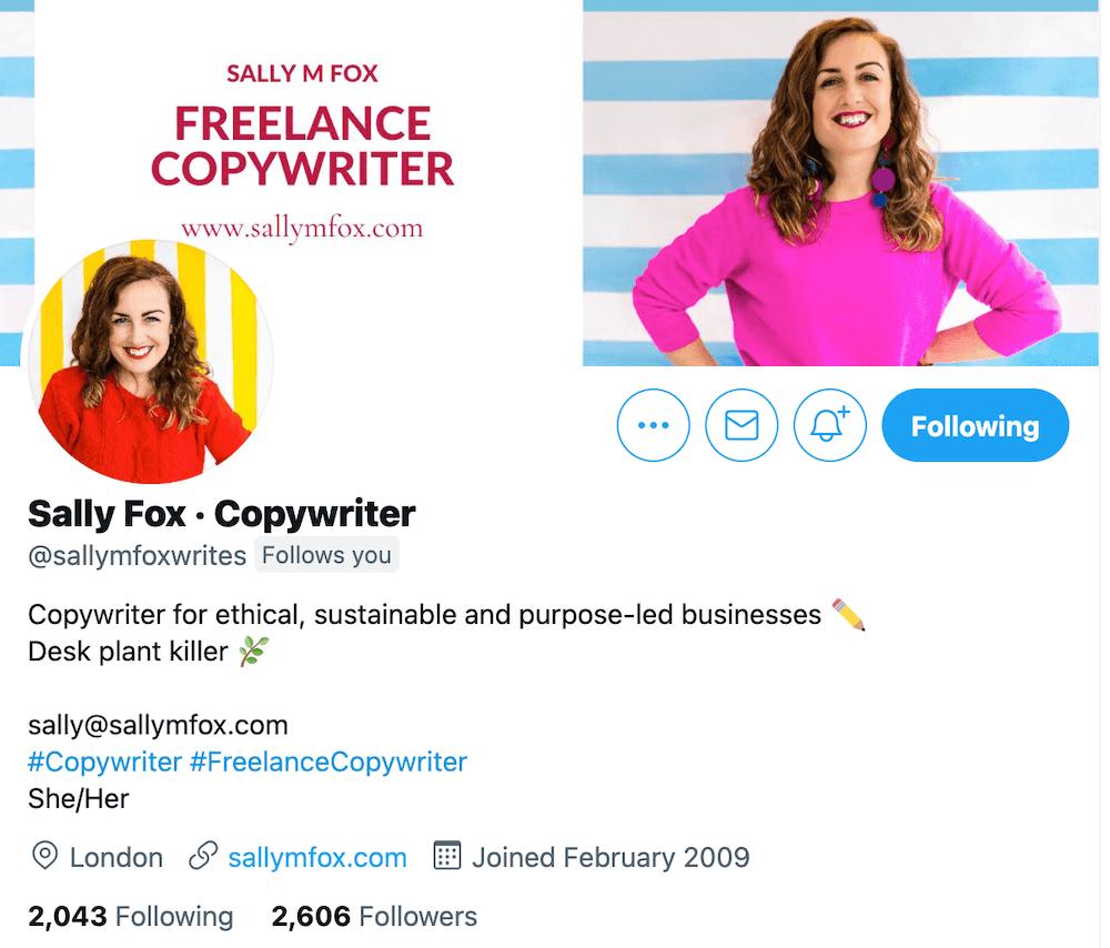 Sally Fox Twitter Bio