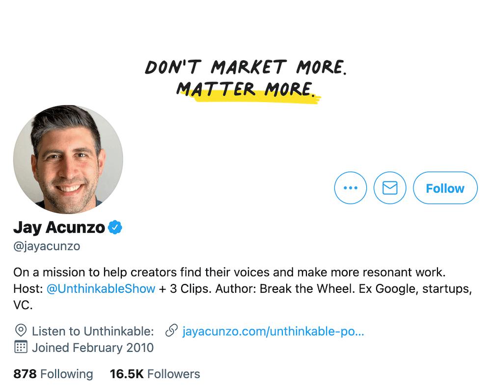 Jay Acunzo Twitter Bio
