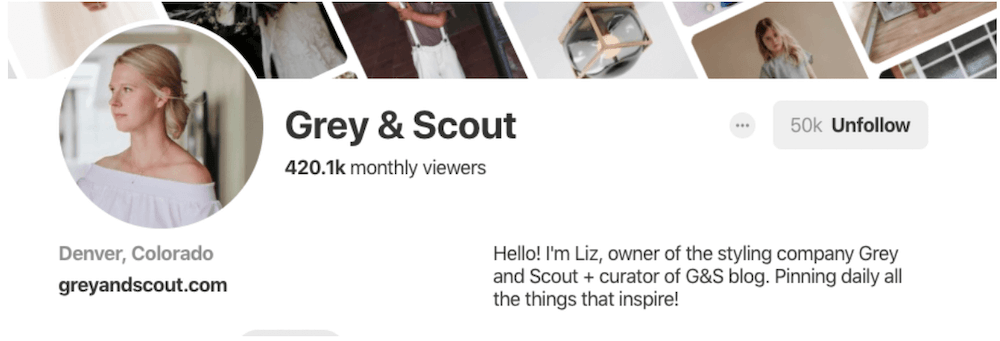 Grey & Scout Pinterest Bio