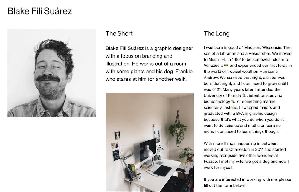 Blake Suarez About Page Bio