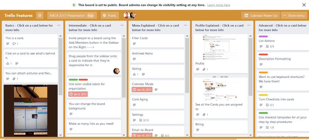 Trello features in action