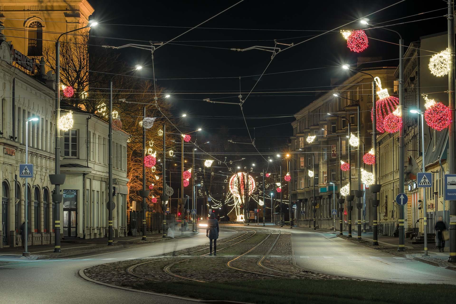 Liepājas Lielā iela Ziemassvētku laikā