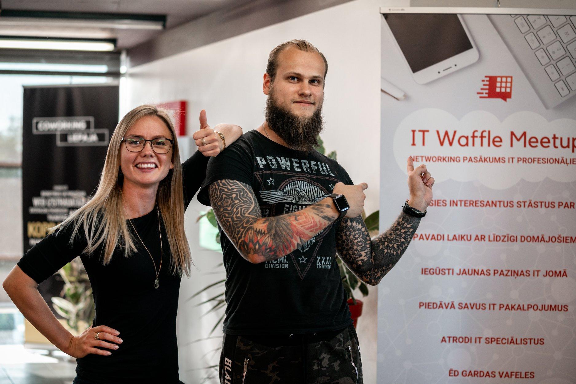 Yan Tsishko and Agate Ambulte in IT Waffle Meetup