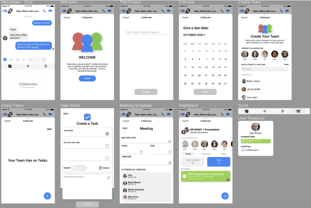 Wireframes from Jan's case study