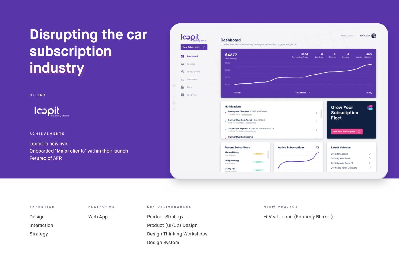 loopit case study header showing ipad dashboard design