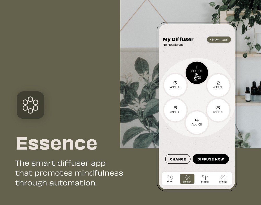 essence case study thumbnail showing iphone screen design with smart diffuser app