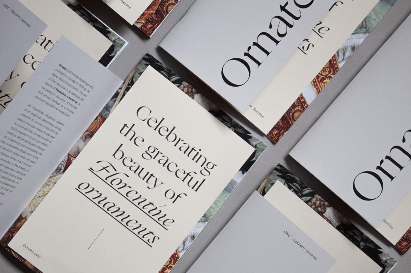 "Image of publication design using italic fonts ""Celebrating the graceful beauty of Florentine ornaments"""