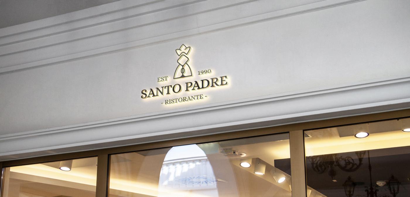 Santo Padre ristorante: logo signage on storefront—serif