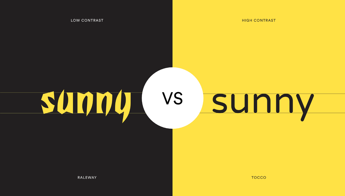 """showing the word """"sunny"""" with sharp vs round corners in different typefaces"""