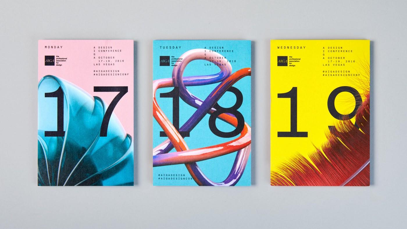AIGA branding using monospace typography—showing 3 posters